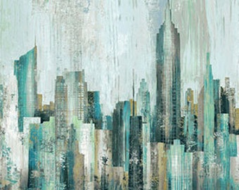 "City Scene Urban Oasis Apr 28"" Panel Fabric Quilting Cotton Northcott"