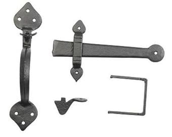 Antique Black Cast Iron Thumb Latch Set Door Set Latch Suffolk Thumb Latch Old Traditional Style Heart Latch Quality Solid Cast - 6056