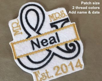 MR & MRS APPLIQUE Name Patch - Iron On Felt Patch - Anniversary Gift, Wedding Memento, Wedding Announcement, Style 29, Personalized Patches