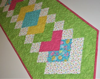 "Easter Quilted Table Runner, Spring Table Mat, Polka Dots and Easter Eggs, Green Pink Blue Yellow Table Runner, 16""x49"", Quiltsy Handmade"