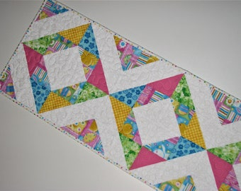 "Easter Quilted Table Runner, Spring Table Runner, Scrappy Pastel Easter Table Mat, 36""x12"", Quiltsy Handmade"