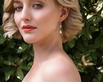 Swarovski crystal earrings wedding, pearl drop earrings bridal, pearl bridal earrings dangle - Flora