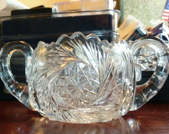 Antique Hobstar Two Handled Early American Brilliant Period Cut Crystal Open Sugar Bowl Pattern Glass Sawtooth Rim