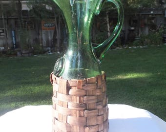 Fabulous Green Italian Bottle Covered in a Beautiful Basket Woven on to the Bottle