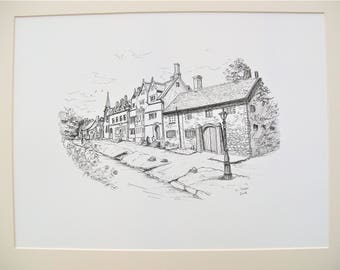 Caren Taylor *ORIGINAL* Mounted Pen and Ink Drawing of High Street, Broadway, Cotswold's A beautiful historic little village full of charm.