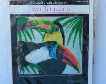 """Jeanette Crews Designs Two Toucans counted cross stitch kit 8114-11-K Design by Pegasus 8"""" x 7.5"""" sealed 2004"""