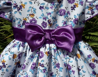 Purple Bow Baby Dress. ONLY ENOUGH FABRIC Left for Size Newborn  or  0 - 3 mths.