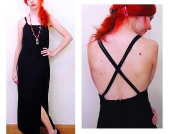 Vintage Cross Strap Dress/Black Evening Dress/70s Dress/80s Dress/Vintage Dress/Goth Dress/Grunge Dress/Black Dress/Disco Dress/UK 10/UK 12