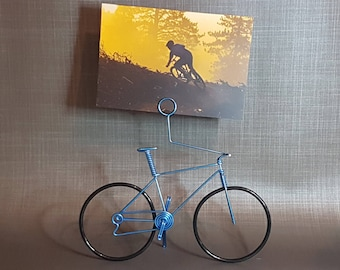 Handmade bicycle bike in aluminum wire photo holder