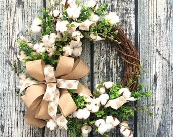 Cotton Boll Front Door Wreath, Southern Wreath, Year Round Wreath, Cotton Farmhouse Wreath, Cotton Boll Wreath, Preserved Cotton Ball Wreath