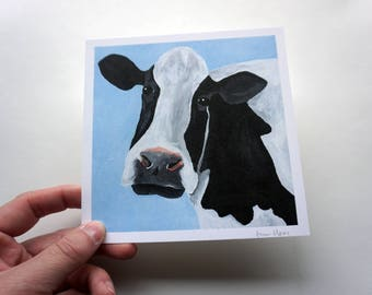 "Black and White Cow Print, 5.5x5.5"" Cow Print by Amber Maki"
