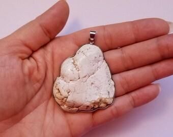 Large White Howlite  Necklace Pendant, Howlite Jewelry Pendant, Large White Stone Pendant
