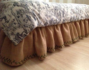 Rustic Burlap bedskirt/CHOOSE Your LENGTH and Size!! We do CUSTOM Sizes!/Ruffled bedskirt/Farmhouse bedskirt/Ruffled bedding