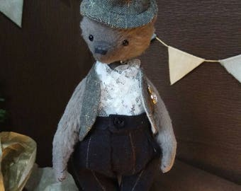 OOAK Teddy bear, bear in clothes, cotton,