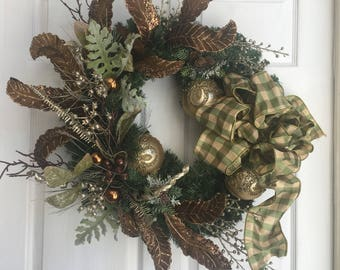 Christmas wreath green and bronze