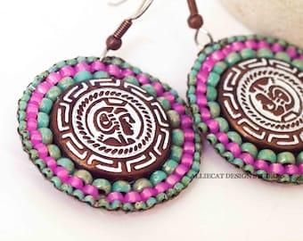 Boho Earrings | Gypsy Earrings | Bohemian Earrings | Turquoise Pink Round Earrings | NEW
