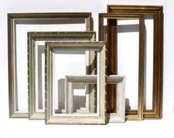 Vintage French Decorative Wooden Frames Interior Paris Apartment Styling  x 6  Shabby Chic