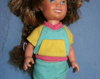 "Playskool Dolly Surprise 1987 Doll 10"" w/ Clothes Growing Auburn Hair Dressed"