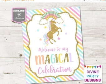 SALE INSTANT DOWNLOAD Printable Unicorn 8x10 Welcome to My Magical Celebration Sign / Unicorn Collection / Item #3505
