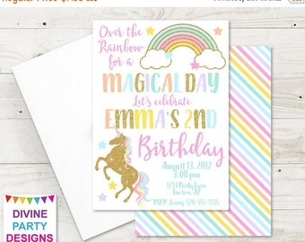 SALE PERSONALIZED Printable 5x7 Unicorn Birthday Party Invitation / Unicorn Collection / Item #3502