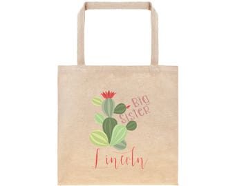 Big Sister Personalized Cactus Tote Bag // Custom Canvas Big Sister Gift Bag // Boho Big Sis Tote Bag
