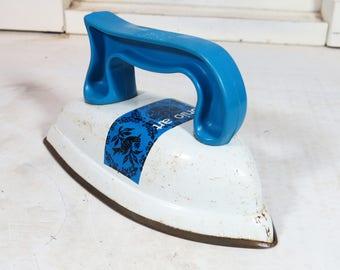 Ohio Art Iron - Toy Metal Iron- Blue and White