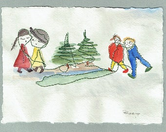 Four friends  in the Woods-Painting