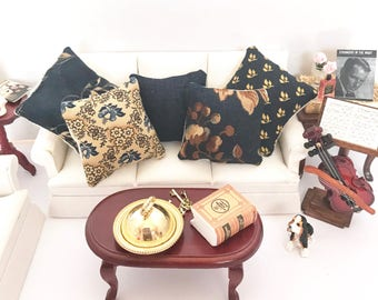 Country Dollhouse Pillows, Miniature Pillow Set, Farmhouse Pillows, 1:12 Scale Dollhouse Pillows, Rustic Dollhouse Pillows, Doll Miniatures