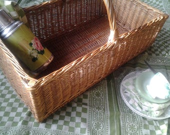 Wicker Bakery basket...Vintage French Basket...Boulangerie...French Bakery Bread display...Kitchen storage...Nursery...Bobo home patio decor