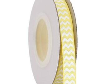 "Grosgrain Chevron Ribbon 3/8"" - 10 Yards - Yellow"