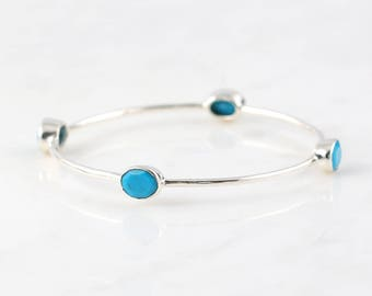 Silver Turquoise Bangle - Sleeping Beauty Turquoise Bracelet - Stackable Bangle Bracelet - Stacker Bangle - December Birthstone Bangle