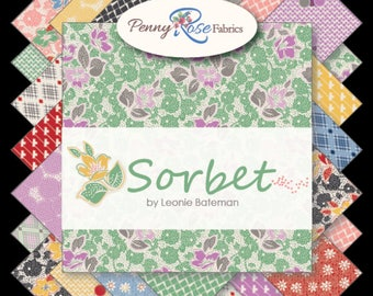 "Riley Blake Fabrics -Sorbet by Leonie Bateman Rolie Polie 2.5"" Fabric Quilting Strips Jelly Roll 40 count RP-6710-40"