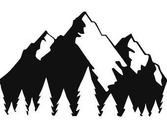 Vinyl Sticker Decal: Mountains and Trees (Also Available in Rose Gold Foil)