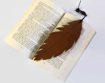 Leather bookmark, handmade accessory for avid readers,  gender neutral birthday gifts for men or women, ready to ship items