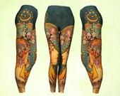 Leggings, pants, art to wear, yoga leggings, yoga pants, Mucha Zodiac, autumn colors, amber green, gypsy clothing, boho leggings, gift woman