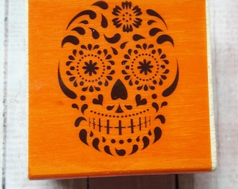 Calavera Wood Mounted Rubber Stamp Halloween/Scrapbooking & Paper Craft Supplies