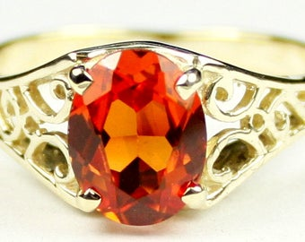 Created Padparadsha Sapphire, 18KY Gold Ring, R005