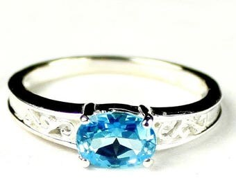 On Sale, 20% Off, Swiss Blue Topaz, 925 Sterling Silver Ladies Ring, SR362