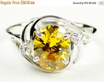 On Sale, 30% Off, Golden Yellow CZ, 925 Sterling Silver Ladies Ring, SR021