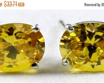 On Sale, 30% Off, Golden Yellow CZ, 925 Sterling Silver Post Earrings, SE002