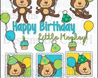 DIGITAL SCRAPBOOKING CLIPART - Birthday Monkey