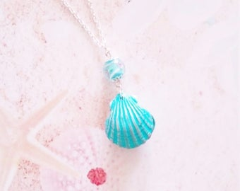 necklace mermaid shell and pearl polymer clay