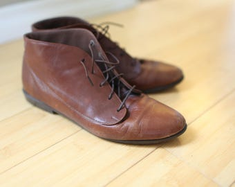 vintage brown leather oxfords ankle boots lace up womens 9