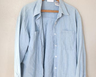 vintage oversized blue chambray denim industrial work shirt *
