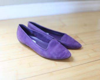 vintage purple suede leather  flats womens  6 1/2