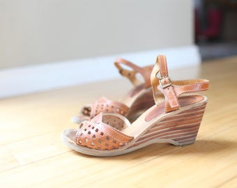 vintage  tan leather cut out platform wedge sandals womens 5