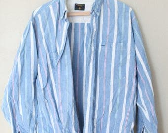 vintage striped conductor industrial blue chambray denim shirt
