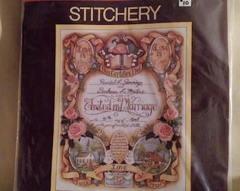 """Sunset Stitchery Kit """"Wedding Certificate"""""""