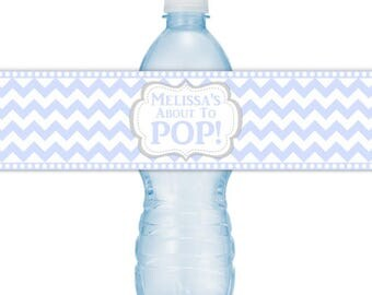 CUSTOM Baby Shower Water Bottle Labels, Printable Blue Chevron About to Pop Water Bottle Stickers, DIY water bottle labels