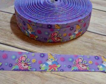 1 inch Grosgrain Ribbon - Alice in Wonderland